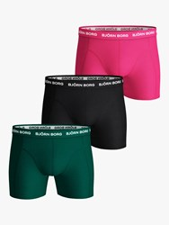 Bjorn Borg Solid Neon Sammy Trunks Pack Of 3 Green Black Pink