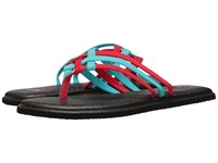 Sanuk Yoga Salty Aqua Bright Red Women's Sandals