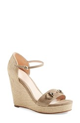 Women's Gucci 'Carolina' Ankle Strap Wedge Taupe Suede