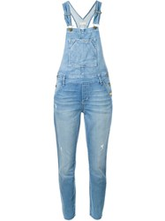 Current Elliott Distressed Denim Overalls Blue