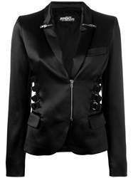 Jeremy Scott Zip And Strap Detail Blazer Black