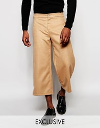 Reclaimed Vintage Faux Wool Culottes Tan
