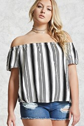 Forever 21 Plus Size Off The Shoulder Top White Black