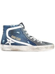 Golden Goose Deluxe Brand Slide High Top Sneakers Women Leather 39 Blue