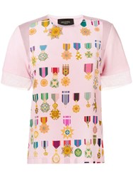 Mr And Mrs Italy Medal Print T Shirt Pink