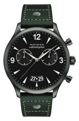 Movado Men's Heritage Calendoplan Chronograph Leather Strap Watch 45Mm Green Black Gunmetal