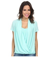 Nydj Fit Solution Two Fer Top Seafoam Women's Short Sleeve Pullover Green