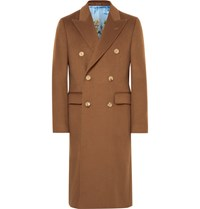 Gucci Slim Fit Double Breasted Cashmere Overcoat Tan