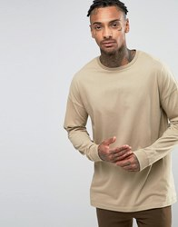Asos Oversized Long Sleeve T Shirt Beige