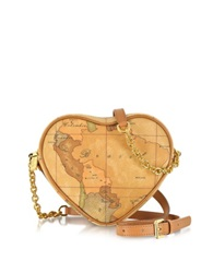 Alviero Martini 1A Prima Classe Geo Printed Contemporary Heart Shoulder Bag Brown