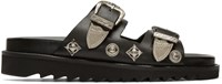 Toga Pulla Black Charms And Buckle Sandals