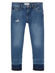 Mango Skinny Cropped Amy Jeans Open Blue