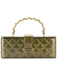 Chanel Vintage Quilted Cc Vanity Hand Bag Green