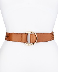 Cole Haan Braided Leather D Ring Pullback Belt Light Brown