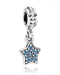 Pandora Design Dangle Charm Blue Cubic Zirconia Pave Star Moments Collection Silver Blue