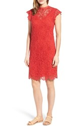 Velvet By Graham And Spencer Women's Cap Sleeve Lace Sheath Dress Red
