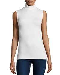Majestic Soft Touch Sleeveless Stretch Turtleneck Milk
