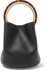 Marni Pannier Small Leather Bucket Bag Black