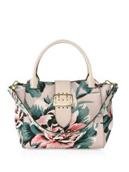 Burberry Medium Floral Print Leather Buckle Tote Emerald Multi
