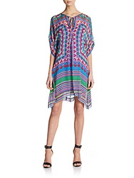 Hale Bob Printed Tie Front Silk Chiffon Shift Dress Purple Multi