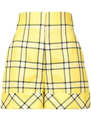Sara Battaglia Checked Tailored Shorts Yellow And Orange