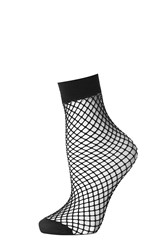 Topshop Fishnet Ankle Sock Black