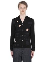 Comme Des Garcons Shirt Cutout And Dot Printed Fine Wool Cardigan