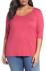 Sejour Plus Size Women's Elbow Sleeve Scoop Neck Tee Pink Vivacious