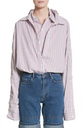 Y Project Women's Double Layer Pinstripe Blouse Red Navy