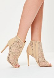 Missguided Nude Lace Peep Toe Heeled Ankle Boots