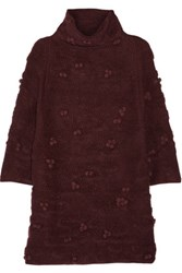 Raoul Embellished Textured Knit Turtleneck Sweater Burgundy