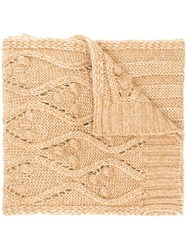 Twin Set Cable Knit Scarf Nude And Neutrals