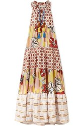 Anjuna Tiered Metallic Trimmed Printed Cotton Blend Voile Maxi Dress Beige