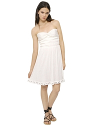 Etoile Isabel Marant Strapless Cotton Gauze Bustier Dress Off White