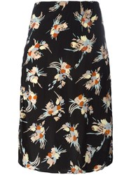 Marni Floral Print Pencil Skirt Black