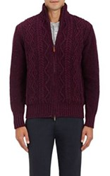 Inis Meain Men's Cable Knit Wool Cashmere Sweater Pink