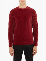Our Legacy Burgundy Velvet Long Sleeved T Shirt