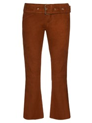 Marques Almeida Flared Leg Suede Cropped Trousers