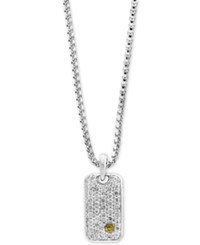Effy Men's White Sapphire Cluster Dog Tag Pendant Necklace 1 3 8 Ct. T.W. In Sterling Silver And 18K Gold
