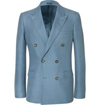 Alexander Mcqueen Blue Slim Fit Double Breasted Mohair And Silk Blend Suit Jacket Light Blue