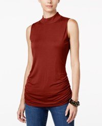 Inc International Concepts Ruched Mock Turtleneck Top Only At Macy's Burnt Pepper