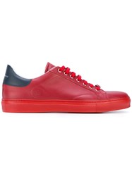 Roberto Cavalli Classic Lace Up Sneakers Men Calf Leather Leather Rubber 44 Red