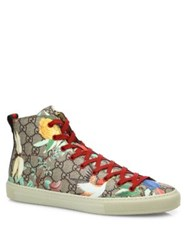 Gucci Gg Supreme Tian High Top Sneakers Beige Multicolor
