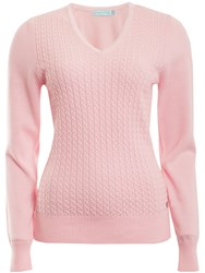 Green Lamb Brid Cable Sweater Pink