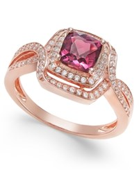 Macy's Rhodolite Garnet 1 1 3 Ct. T.W. And Diamond 1 3 Ct. T.W. Ring In 14K Rose Gold Red