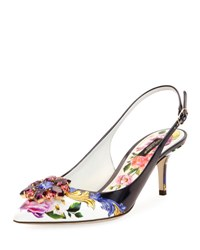 Dolce And Gabbana Jeweled Floral Print Slingback Pump Multi