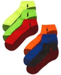 Polo Ralph Lauren Men's Athletic Celebrity Sport Socks 6 Pack Neon