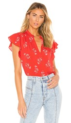 Joie Marlina Blouse In Red. Poppy