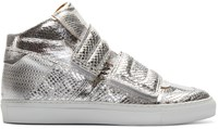Maison Martin Margiela Silver Leather Velcro High Top Sneakers