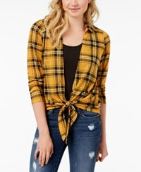 Almost Famous Juniors' Plaid Layered Look Top Mustard